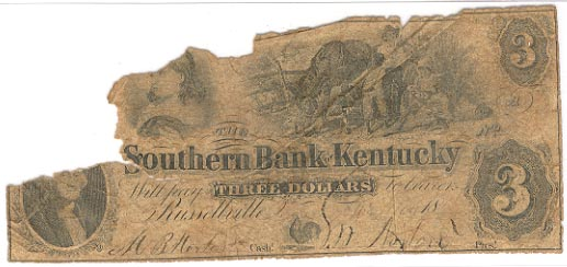 Kentucky Obsolete Currency 3 1858 Southern Bank Of Kentucky Russellville