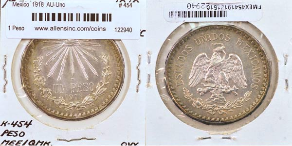 MEXICO 1932 AND 1933 AU//UNC UN PESO 2 COINS