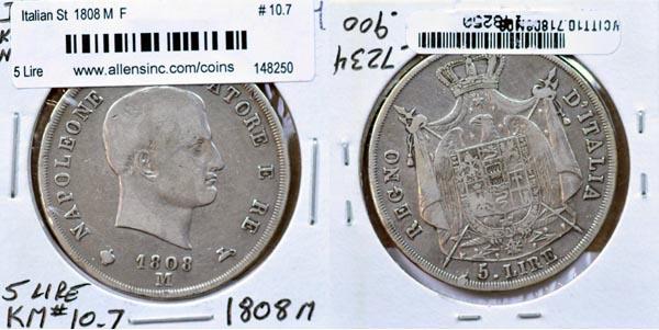595c8196ac 10.7, 1808 M, 5 Lire, F, $165.00, Photo